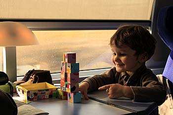 Family train travel to Alps
