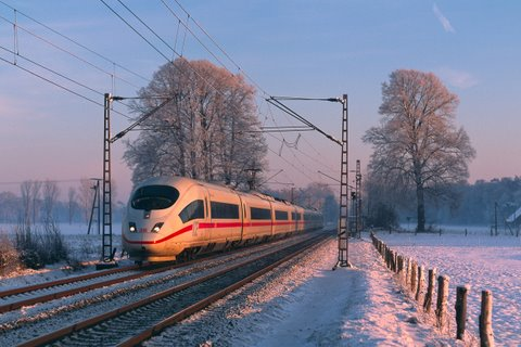 ICE train in snow
